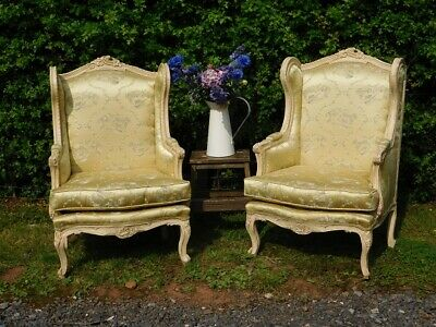 A PAIR OF 20th CENTURY ANTIQUE FRENCH ARMCHAIRS PARLOUR CHAIRS FAUTEUIL