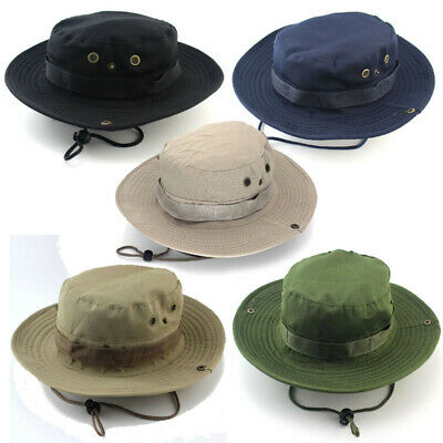 Mens Women Sun Hat Bucket Cargo Safari Bush Boonie Fishing Cap Wide Brim Cowboy