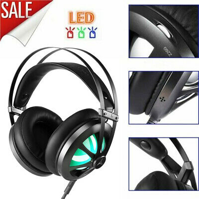 Stereo Over-ear Gaming Kopfhörer mit LED Headset für PC Laptop PS4 Xbox One