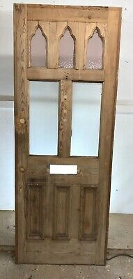 Victorian Stained Glass Front Door Reclaimed Old Period Antique Wood Pine Goth