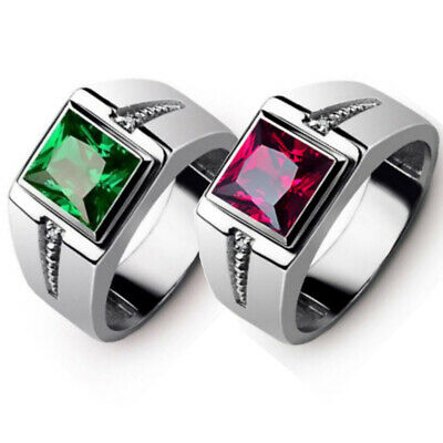 Square Crystal Men's Fashion Jewellery Silver Titanium Steel Wedding Band Rings