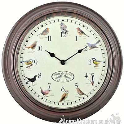 BIRD SONG CHIMING WALL CLOCK hourly birdsong chime garden bird lover gift boxed