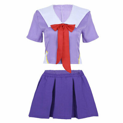 Womens Adults High School Sailor Uniform Tops Pleated Skirt Set Cosplay Costume