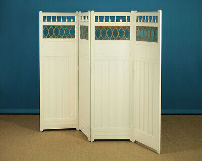 Antique Arts & Crafts Style Painted Folding Screen c.1900.