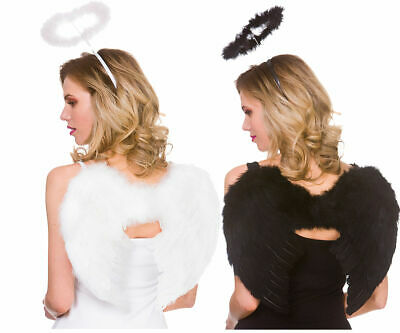 Feather Wings & Halo Set Black White Fancy Dress Angel Fairy Costume Accessory