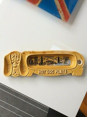 Rare Arkansas Hot Dog Plate Mustard Relish Dish War Memorial Razorbacks Chicago