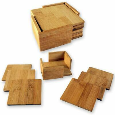 Set of 6 Square Wooden Drinks Coasters with Holder Coffee Table Desk Home
