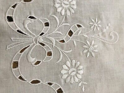 Lovely Round White Embroidered Cotton Tablecloth . Cut Work . White Work