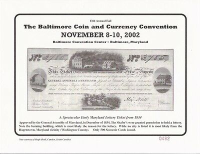 2003 Baltimore Coin Show Souvenir Card $500.00 The Bank of Maryland BLT14sc