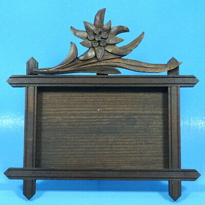 Antique Black Forest Wood-Carved TABLE/DESK PHOTO FRAME Edelweiss Flower Brienz