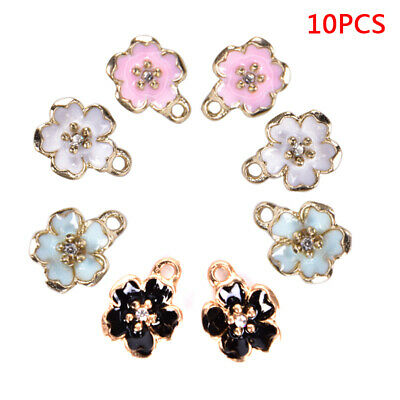 10Pcs Enamel Alloy Flower  Blossom Charms Pendants DIY Jewelry Findings Craft US