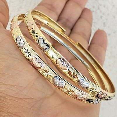 Big extra large Real 14k GOLD heart hoop earrings yellow white rose 0.75 inch lg