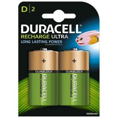 2 x Duracell Recharge Ultra D Batteries 3000mAh Rechargeable Long Life Battery