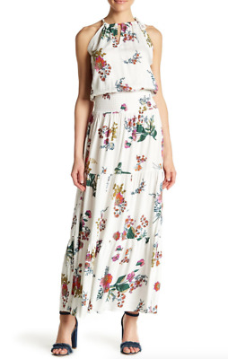 Love Stitch White Floral Boho Tiered Maxi Dress 13539 Size S