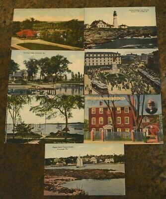 (7) Vintage Early 1900's Portland ME Boat House Bridge MONUMENT SQUARE Post Card