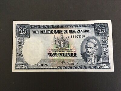 NEW ZEALAND . (1955- 1956) 5 pounds - Fleming VF/gVF nice looking banknote