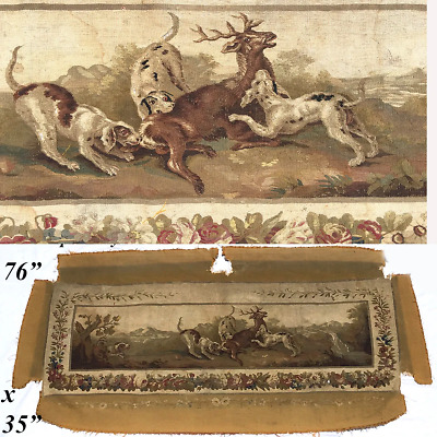 """HUGE Antique French Aubusson Panel, Sofa Cover, 76"""" x 35"""" with Stag and Hounds"""