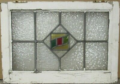 "MIDSIZE OLD ENGLISH LEADED STAINED GLASS WINDOW Pretty Geometric 22.5"" x 15.75"""