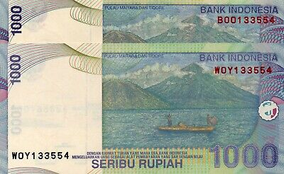 INDONESIA 1000 Rupiah 2016 & 2013 P141 Matching Serial 133554 x 2 UNC Banknotes