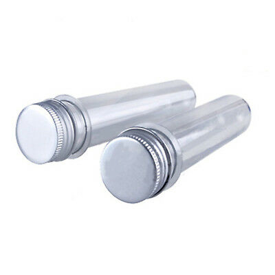 Plastic Lab Test Tubes Metal Caps Screw Top Lid Round Bottom Wedding Party AE