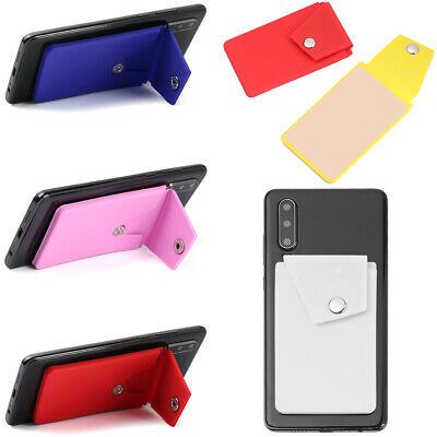 Silicone Credit Card Holder Cell Phone Wallet Slot Stand Pocket Sticker Adhesive