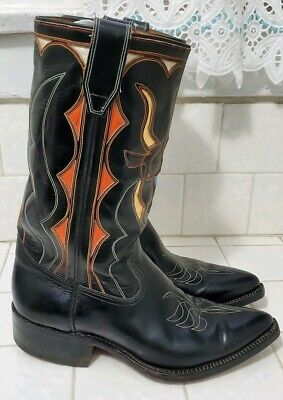 c40d1601780 ACME GOLDEN ANGUS Inlay Cowboy Boots 8 B Mens Western Vintage