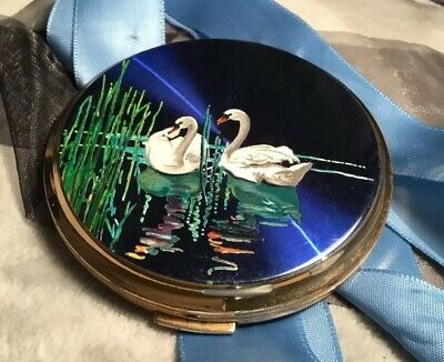Vintage Collectable 50s Round Stratton Swans Blue Vanity powder Compact EC