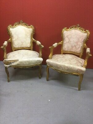Antique Pair Of French Gilt Louis Style Chairs Sn-850a