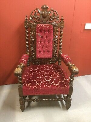 Antique Highly Carved Oak Victorian Throne Style Chair Sn-837a