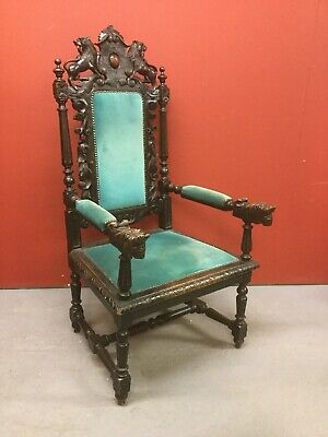 Antique Highly Carved Oak Throne Style Chair Sn-838a