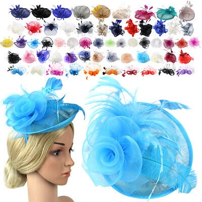 Girls and Women Fascinators Hair Clip Feather Flower Cocktail Tea Party Headwear