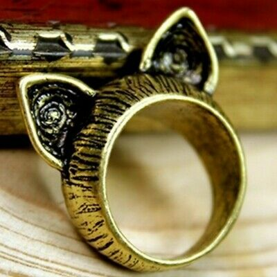 kitty ear Designer Retro Accessories Old Vintage Cat Jewellery Antique Ring