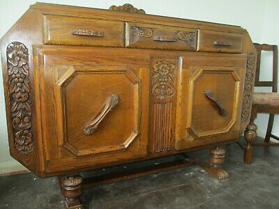 Vintage 1940's carved solid oak dining suite-sideboard, extending table 4 chairs