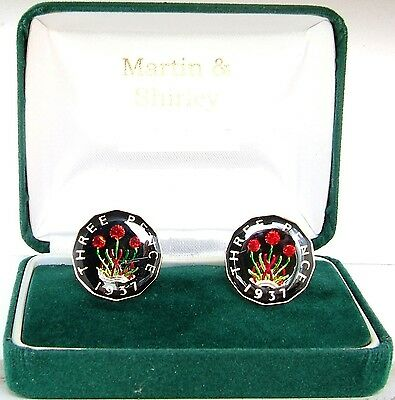 1937 Threepence cufflinks  real coins in Black & Gold & Colours