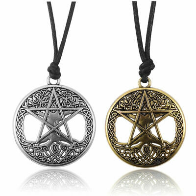 Vintage Women's Hollow Celtic Knot Tree Star Round Pendant Adjust Rope Necklace