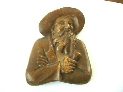 Antique vtg carved wood sculpture male black forest wall plaque ~ smoking pipe