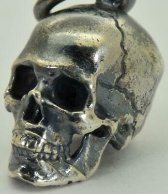 Antique 19th Century Victorian Sterling Silver Skull charm pendant fob.Rare.13mm