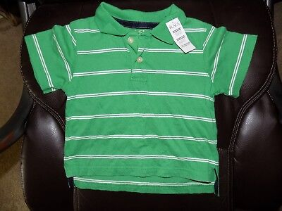 The Children's Place Green/White Striped Polo Shirt Size 18 Months Boy's NEW