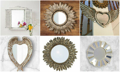 NEW Mirror Faceted Feather Shutter Wall Mounted Hanging Living Decor Home Vanity