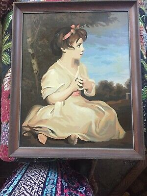 Mid Century Famous Age of Innocence Paint By Number Oil Painting Beautiful Frame