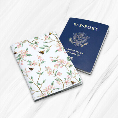 Pink Flower Leaf Bee Girly Gift Floral Leather Travel Passport Holder Case Cover