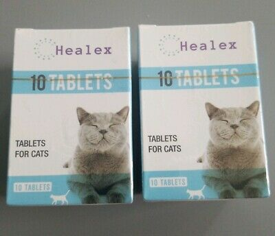 Lot 2 Packs HEALEX Cat DEWORMER for CATS 20 Tablets 2x10 NEW Tapeworm Roundworm