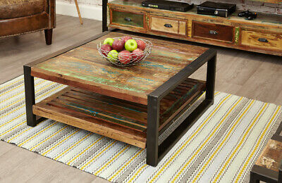 Urban Chic Unique Reclaimed Wood MetalFrame Square Coffee Table Living Furniture