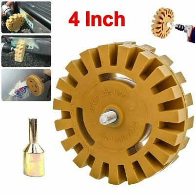"""4"""" Car Decal Removal Eraser Wheel w/ Rubber Power Drill Adapter Sticker Remover"""