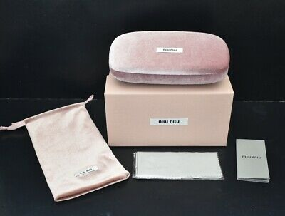 MIU MIU Sunglasses Case Pink Velvet Clamshell with Pouch Cloth Box Full Set