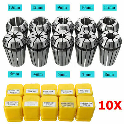 Spring Collet Accessory Drilling Engraving Lathe 10pcs ER20 Silver CNC