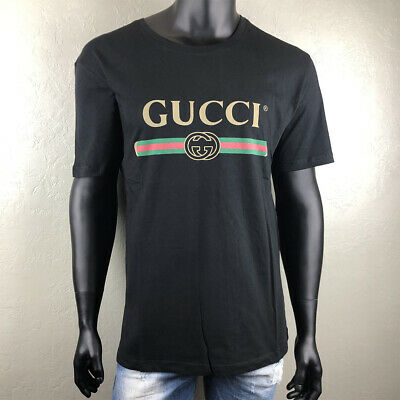 the best attitude b9863 2f5c7 NEW GUCCI T-SHIRT Black Washed Cotton Jersey Vintage Logo 440103 X3F05 350  EUR
