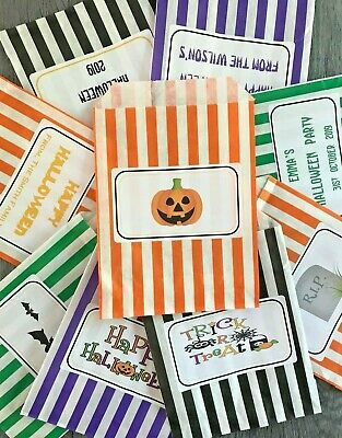 Personalised HALLOWEEN Striped Candy Bags Favour Party Bag Happy Halloween Sweet