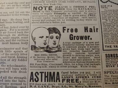 Oct 1904 Magazine Page #M001- Free Hair Grower- Quack Medicine + Drunk Cure