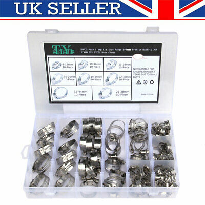Precision 80 Pack Hose Jubilee Clips Clamps Assortment Set Clip Kit 8Mm - 44Mm